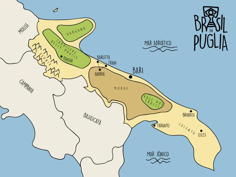 Mapa das zonas e das principais cidades da Puglia