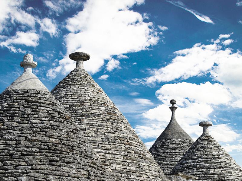 Os trulli da Puglia no sul da Itália.