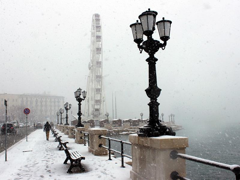 Inverno na Puglia com neve em Bari