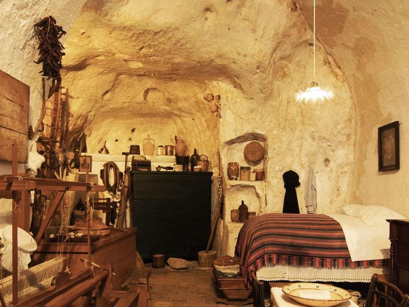 A casa gruta, no lado Sasso Caveoso, em Matera