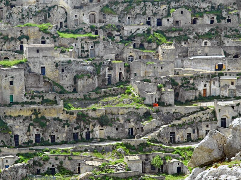 As habitações da zona do Sasso Caveoso em Matera